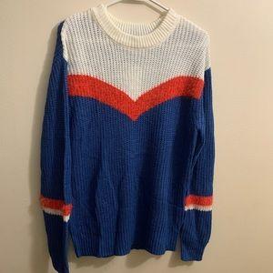 Freshman blue crew neck sweater chevron design